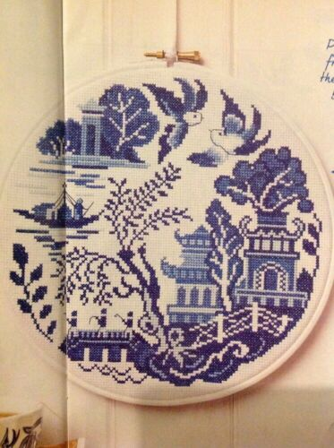 F China Blue Willow Pattern Plate Water Garden Cross Stitch Chart