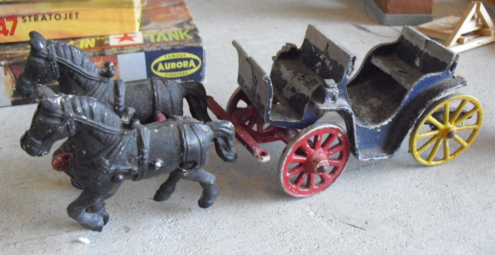 Antike cast aluminium stanley spielzeug bespannten wagen oder kutsche zwei