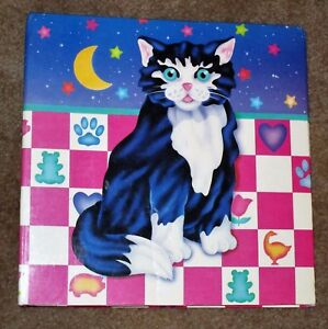 ADORABLE-VTG-1988-LISA-FRANK-COLORFUL-3-RING-BINDER-KITTY-CAT-MOON-STARS-GUC