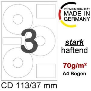 300 CD/DVD Papier Etiketten Format 113/37 mm auf 100 Blatt DIN A4 selbstklebend