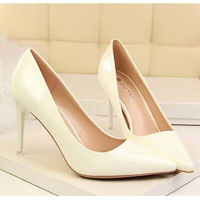 decolte scarpe eleganti stiletto 9 cm bianco avorio pelle sintetica CW387