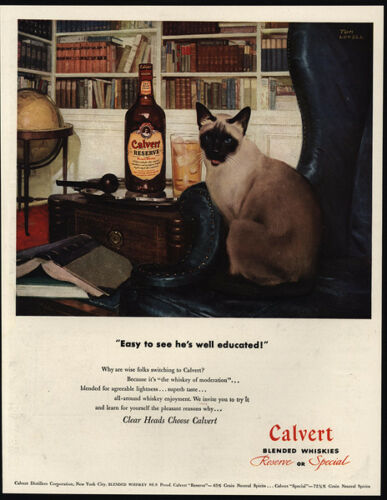 1947 Cute Siamese Cat Library CALVERT Blended Whiskey VINTAGE AD