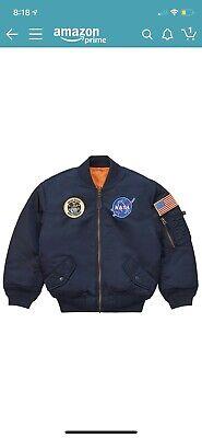 Kids Navy Blue NASA Space Shuttle MA-1 Bomber Flight Jacket Reversible Coat