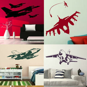 Aeroplane Wall Stickers Removable Fighter Jet Transfers
