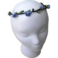 Floral Wreath Headdress Wedding Headband Flower Garland Small Blue Rose