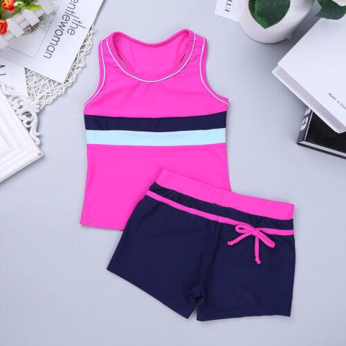 Kids Girl Bikini Tankini Swimsuit Printed Bowknot Swimwear Bathing Suit Set