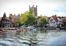 Rowers on the Thames blank greeting card love valentine birthday thank you mist