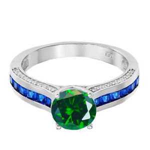 Brilliant-Emerald-Green-Solitaire-Blue-Sapphire-Princess-CZ-Sterling-Silver-Ring