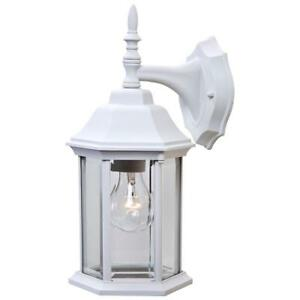 """1-Bulb Textured White Lantern 13"""" Outdoor Wall Lamp Clear Glass Porch Lighting"""