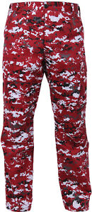 Red-Digital-Camouflage-Military-BDU-Cargo-Bottoms-Fatigue-Trouser-Pants