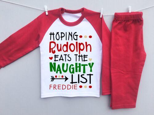 Personnalisé Bébé ou Enfants Pyjamas Set 1st Veille de Noël Rudolph Naughty List