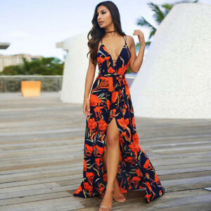 Women Floral Pattern Sleeveless Spaghetti Strap Backless Low Cut Long Maxi Dress