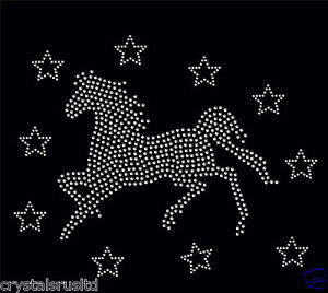 clear Horse Gallop + 10 stars iron on Rhinestone Transfer crystal applique patch
