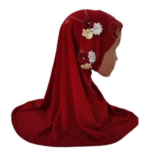 New Muslim Kids Child Girls Scarf Hat Rhinestones Caps Flower Islamic Headwear