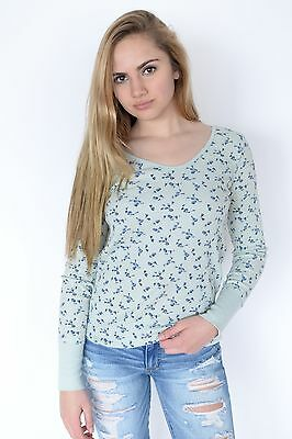 New Free People Womens Thermal Tee Floral Print Long Sleeve Top Mint Xs-L $78