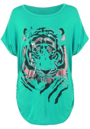 New Womens Oversized Batwing T Shirt Ladies Animal Tiger Foil Print Baggy Top