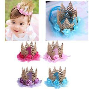 9bb0fdeae532 Baby Princess 1st Birthday Hat Flower Crown Party Headband Hairband ...