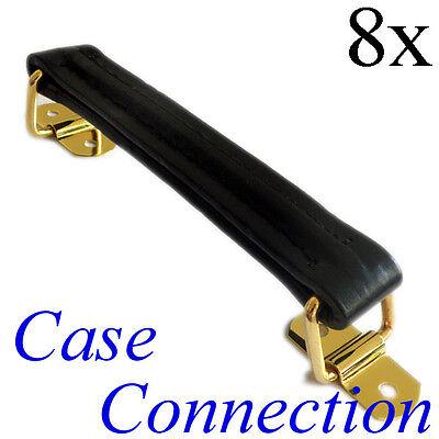 schwarz // gold Leder 8x Koffergriff nylonverstärkt Ledergriff Riemengriff