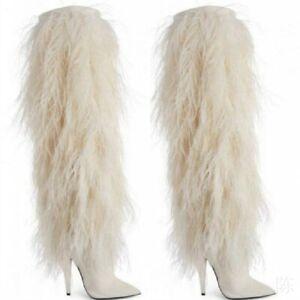 White-Fur-Stilettos-Knee-High-Boots-Women-039-s-Pointed-GoGo-Halloween-Costume-Boots