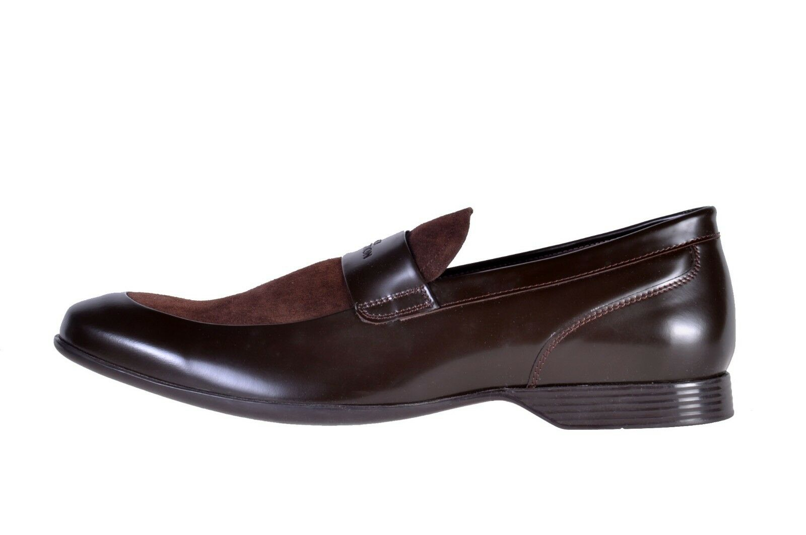 NEW LEATHER VERSACE DARK BROWN SUEDE LEATHER NEW LOAFERS SCARPE 42 - 9 59af47