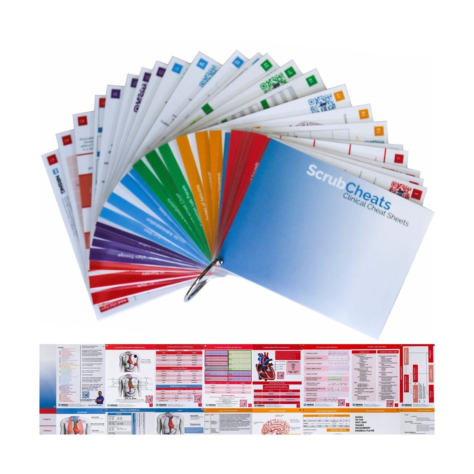 ScrubCheats 50 Nursing Reference Cards HEAVY Laminated Scannabl... Free Shipping