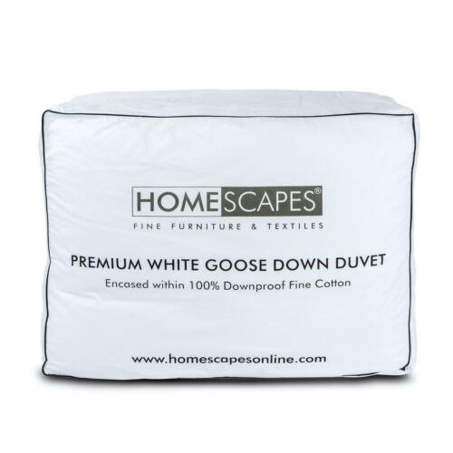 Homescapes Premium White Goose Down Duvet in All Sizes & Togs