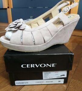 half off cd09c a618b Dettagli su Scarpe donna sandalo CERVONE n 38 ROSA cipria aperte zeppa  Italy, fiore, usate