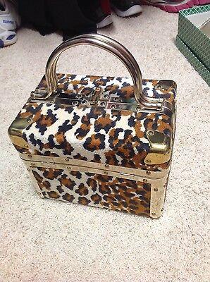 Vintage Delill Italian Leopard print handbag, train case styling
