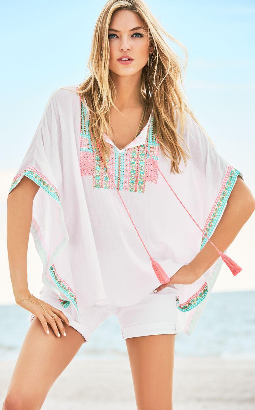 NEW Lilly Pulitzer LUCINDA CAFTAN Resort White Cover Up Embroidery Pink S M