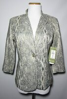 Erin London October Good Times Ii Gold Silver Metallic Jacket Sz S 3/4 Slv