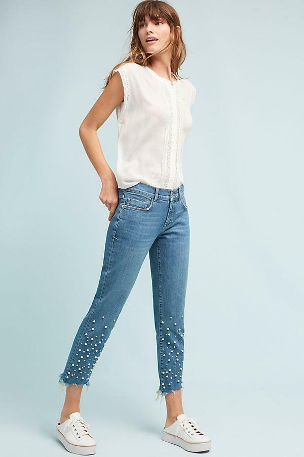 NWOT ANTHROPOLOGIE PILCRO HYPHEN PEARL MID-RISE BOYFRIEND JEANS sz 29 AS IS