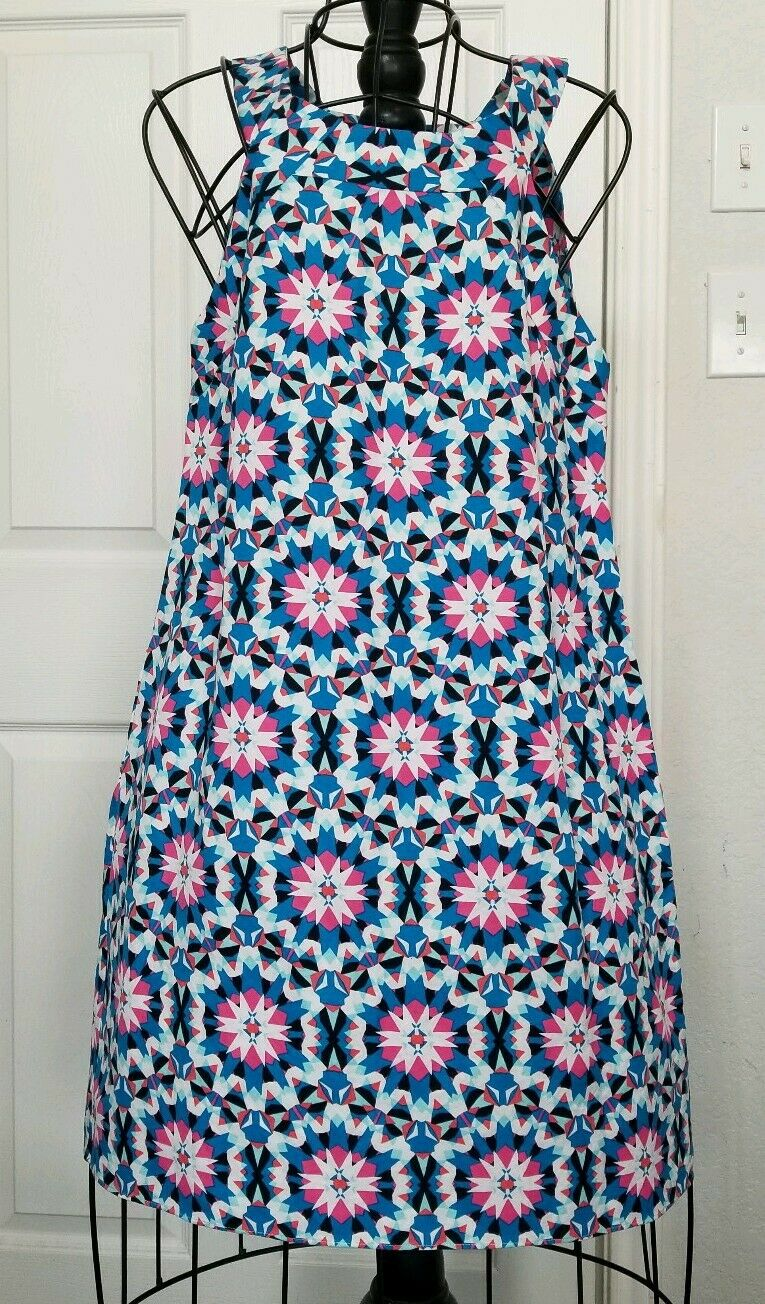 Crown and Ivy dress sz 14 sleeveless linen blend geometric print great condition