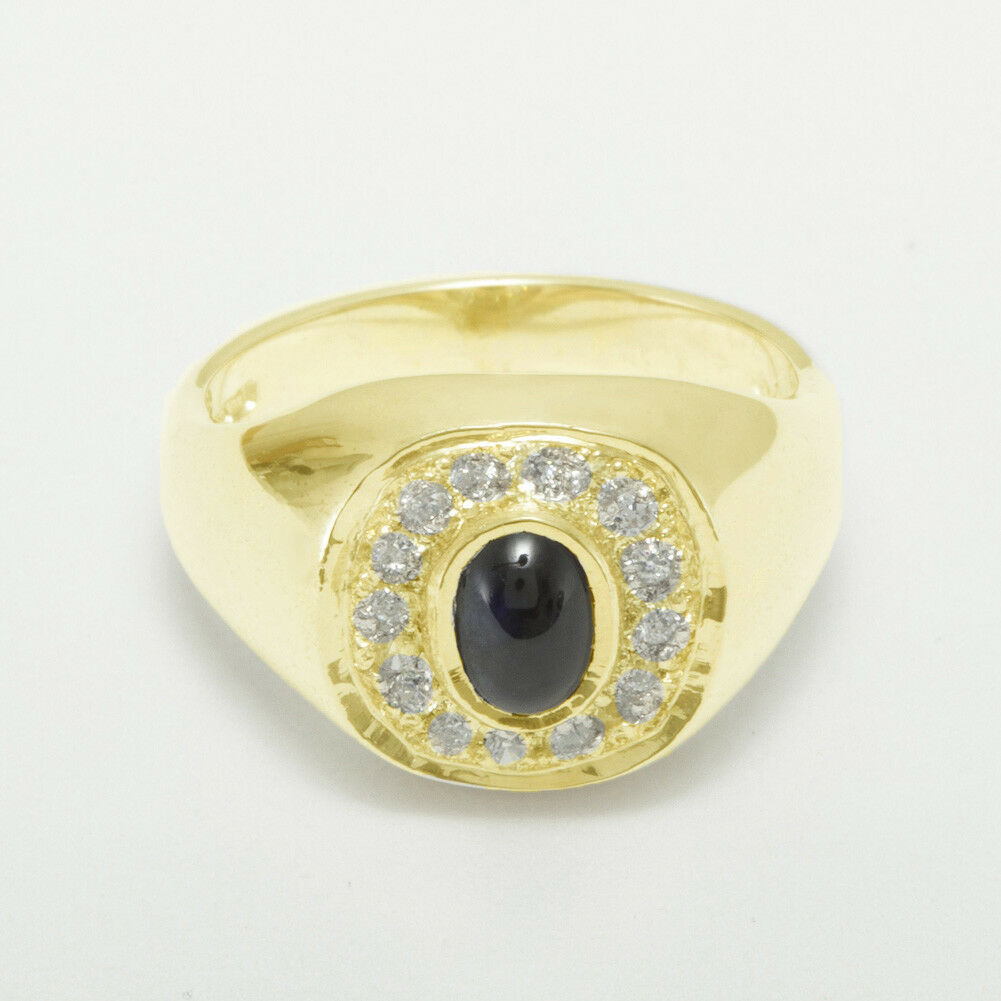 9ct Yellow gold Natural Sapphire & CZ Mens Signet Ring - Sizes N to Z