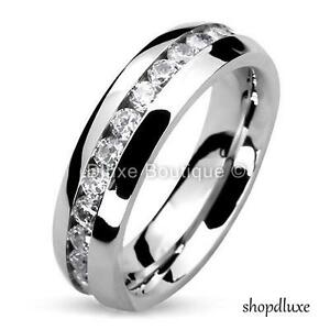 MEN-039-S-ROUND-CUT-CZ-STAINLESS-STEEL-ETERNITY-WEDDING-RING-BAND-SIZE-7-13