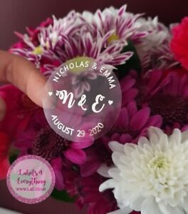 24-x-Personalised-Transparent-Wedding-Stickers-Labels-Favor-Sweet-Cones-Confetti