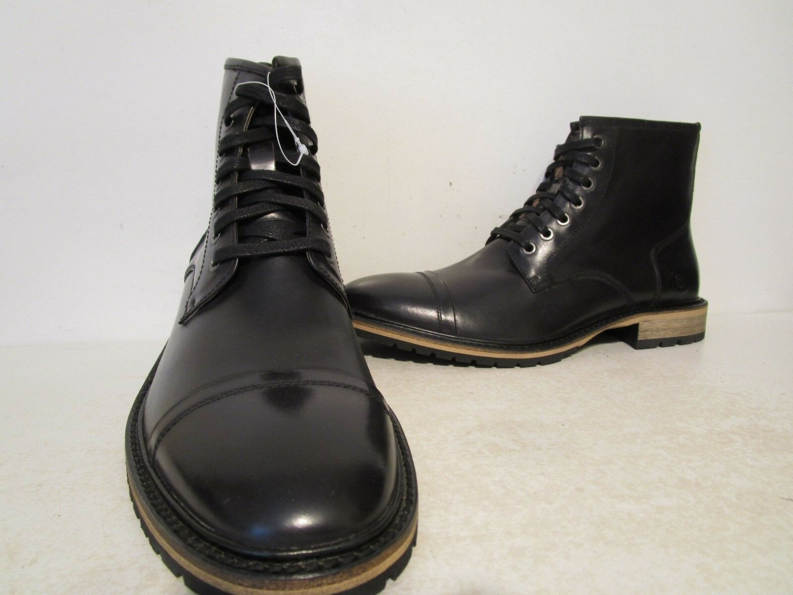 Andrew Marc Mens Norwood Leather Casual Cap Toe Boots Black  Cymbal Size 8 D