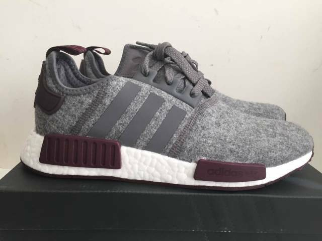 5c1a0bef0 Adidas NMD R1 Grey Wool Maroon White CQ0761 Exclusive Boost Runner Men s  Size