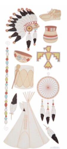 "Native American Indian TeePee Dream Catcher Scrapbook Stickers 5""x12"""