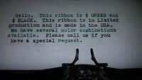 Royal Brittania Typewriter Ink Ribbon - Black And Green Ink Ribbon - Made In Usa