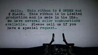 Royal Quiet De Luxe Typewriter Ribbon - Black And Green Ink Ribbon Made In Usa