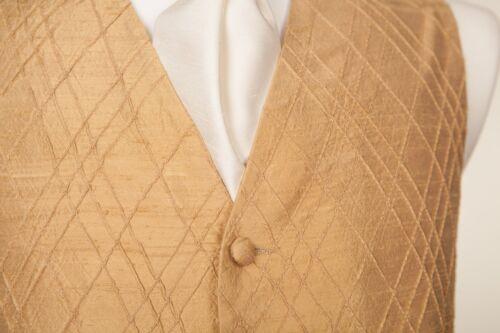 Hommes Garçons Designer Gold Silk Gênes Mariage Robe Suit Gilet 38 40 42