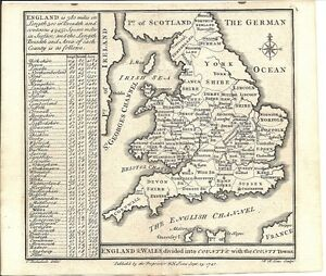Map Of England Counties And Towns.Antique Map England Wales Divided Into Counties With The County