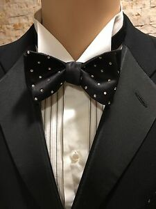 Bow Tie Self Tie Hand Made Black Silk With Swarovski Crystal Polka Dot