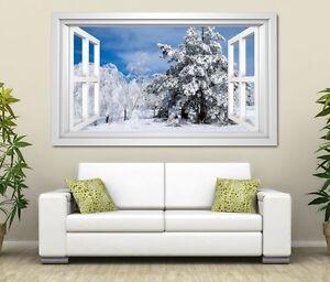 3d Wandtattoo Winter Wald Baum Schnee Weiss Tanne Sticker Wand