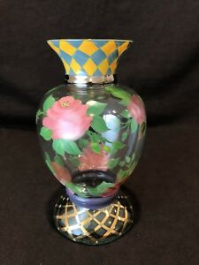 Details About Mackenzie Childs Circus Flared Vase Roses Gold 8 1 2 H Hand Painted