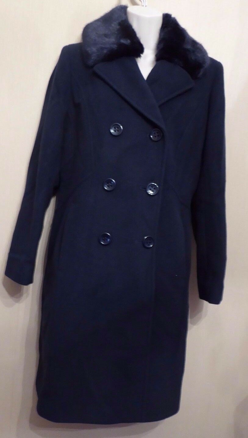 Precis Petite UK8 EU36 US4 new navy bluee wool cashmere coat with faux fur collar