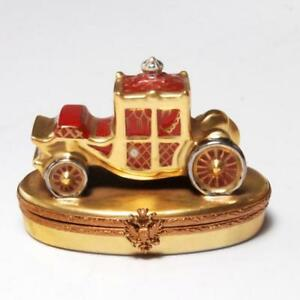 VERY-RARE-FABERGE-HAND-PAINTED-LIMOGES-PORCELAIN-ROYAL-COACH-TRINKET-BOX