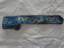 "Antique vintage blue silk gold metallic embroidered dress ribbon trim 2 "" x 58 """