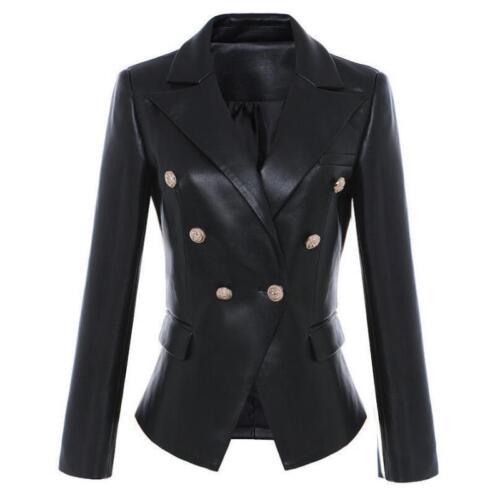 Women/'s Double Breasted Black Leather Slim  Blazer Lapel Collar Coats Jacket K8