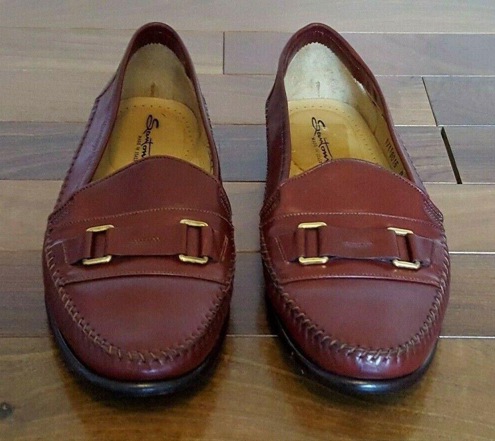 disegni esclusivi Santoni Tan Leather Loafers Moccasins scarpe W    Buckles Sz 9 Medium Made In   memorizzare